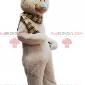 Měkký béžový medvěd maskot a kostkovaný šátek - Redbrokoly.com