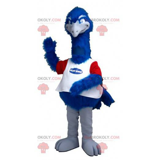 Pštrosí maskot modrá bílá a červená - Redbrokoly.com