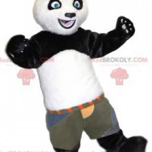 Mascota panda blanco y negro con pantalones cortos de color