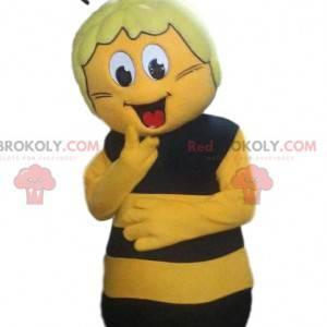 Mascota de abeja amarilla y negra, expresiva y cómica. -