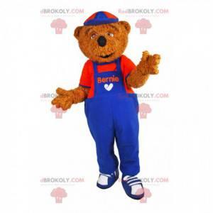 Maskot medvěd hnědý s modrým a červeným overalem! -