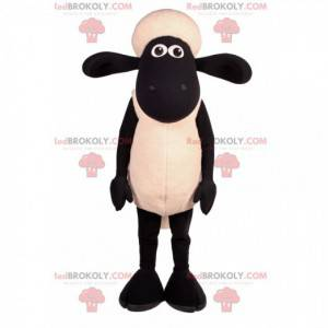 Zwart-witte schapenmascotte met grote oren - Redbrokoly.com