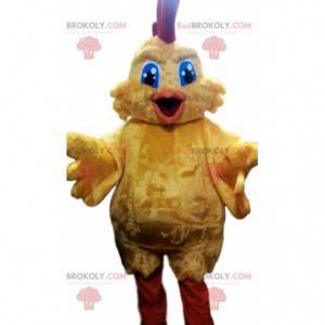 Mascotte di pollo super giallo. Costume da super pollo -
