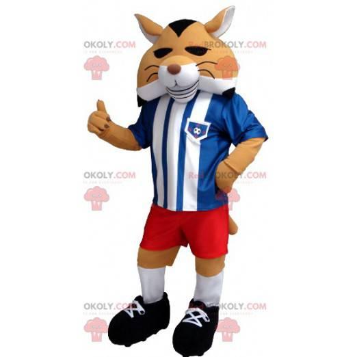 Schwarz-Weiß-Orange-Fuchs-Maskottchen in Sportbekleidung -