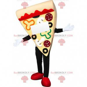 Mascota de pizza tentadora con pepperoni y pimientos -
