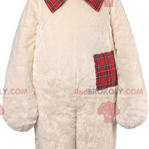 Maskot béžový medvěd a skotský uzel - Redbrokoly.com