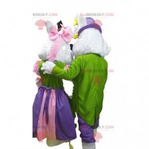 Maskotka para białych królików w kolorowej sukni wieczorowej. -