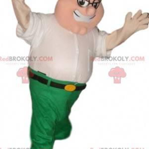 Mascot hombre divertido en camisa blanca y pantalón verde -