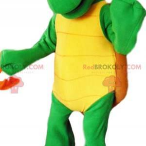Maskottchen grüne Schildkröte und ihre braune Schale -