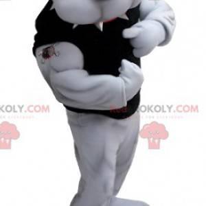 Velmi svalnatý šedý buldok maskot - Redbrokoly.com