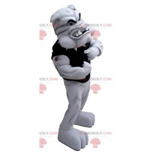 Sehr muskulöses graues Bulldoggenmaskottchen - Redbrokoly.com