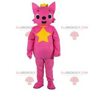 Růžová liška maskot na sobě krásnou zlatou korunu -