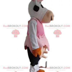 Funny cow mascot in farmer's outfit - Redbrokoly.com