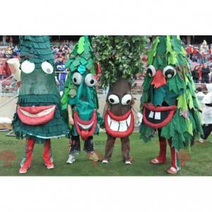 4 mascotes de árvores verdes de abetos - Redbrokoly.com