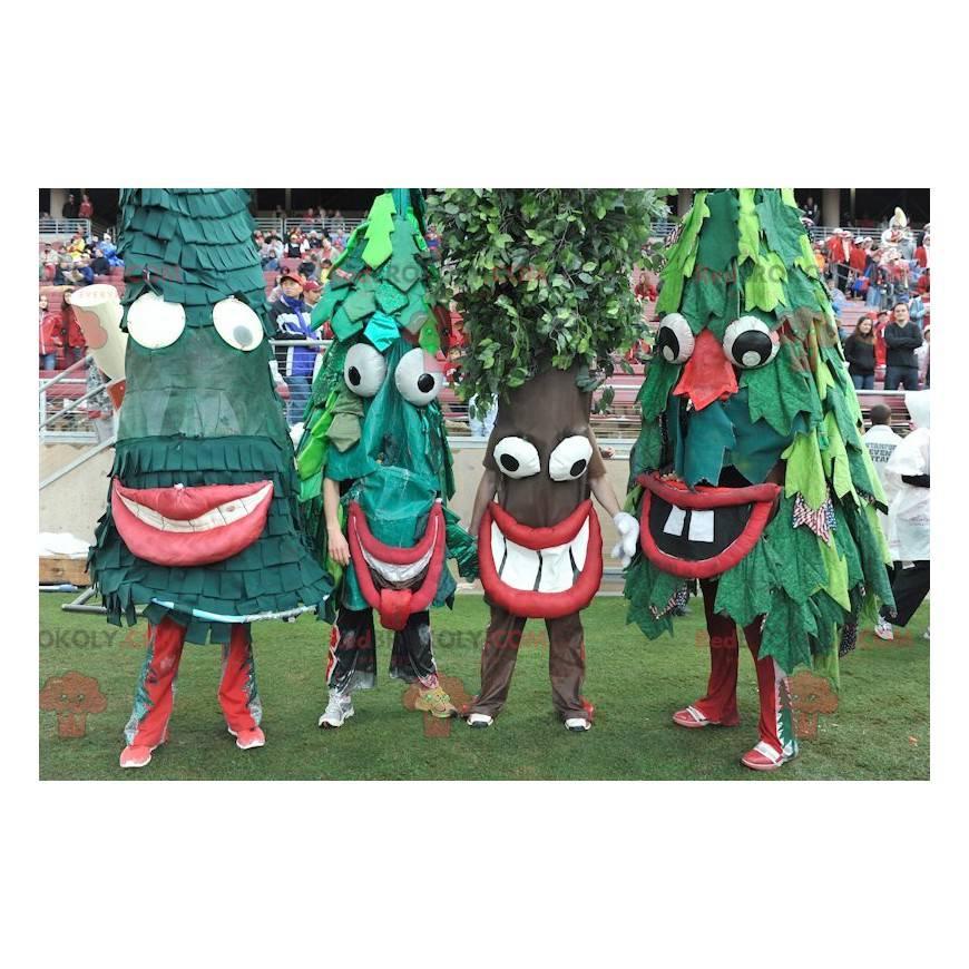 4 Maskottchen von grünen Tannenbäumen - Redbrokoly.com