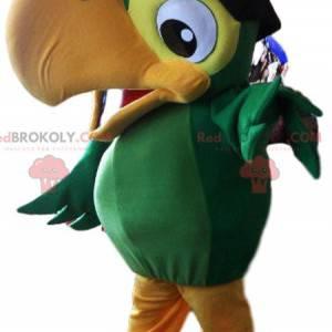 Mascota de loro verde en traje de pirata - Redbrokoly.com
