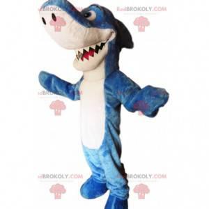 Impresionante y divertida mascota de tiburón azul y blanco. -