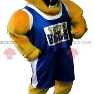 Yellow bear mascot in sportswear - Redbrokoly.com