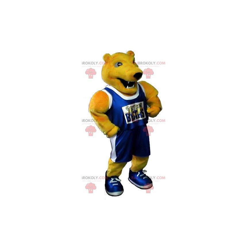 Maskot žlutý medvěd ve sportovním oblečení - Redbrokoly.com