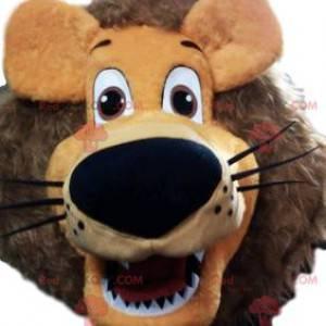 Mascote leão superdivertido com sua juba de fogo -