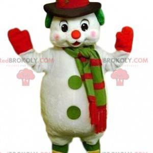 Nettes Schneemannmaskottchen und sein schwarzer Hut -