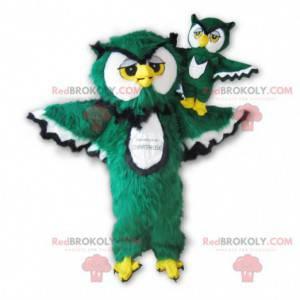 Maskot sova zelená bílá černá a žlutá chlupatá - Redbrokoly.com