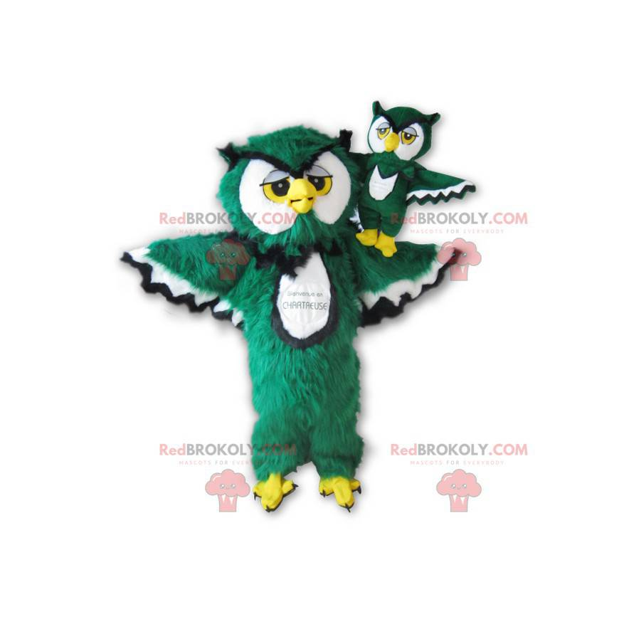 Owl mascot green white black and yellow all hairy -