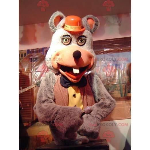 Šedý myší maskot v červeném a žlutém kostýmu - Redbrokoly.com