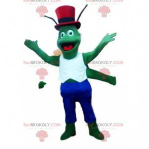 Grünes Heuschreckenmaskottchen mit seinem roten Zylinder -