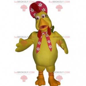 Mascote de galinha amarela e chapéu vermelho com flores -