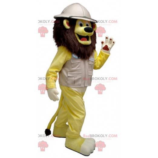Maskot žlutý lev v obleku průzkumníka - Redbrokoly.com