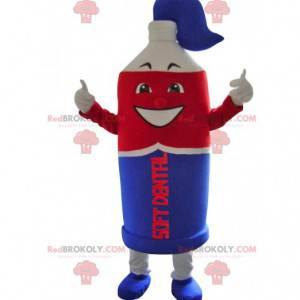 Maskottchen Super Tube aus blauer und roter Zahnpasta -