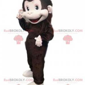 Mascotte grande scimmia marrone troppo divertente e carino -