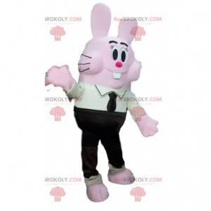 Comic rosa Kaninchenmaskottchen in schwarzem Anzug und Krawatte