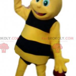 Mascota de abeja amarilla y negra, bonita y traviesa -