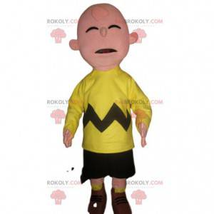 Funny snowman mascot in fluorescent yellow supporter outfit -