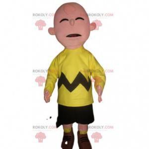 Zabawna maskotka bałwana w fluorescencyjnym żółtym stroju