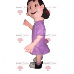 Mascote de garotinha namoradeira em vestido roxo -