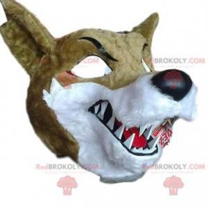 Mascote de lobo feroz com enormes presas afiadas -