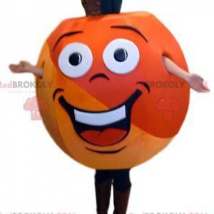 Schönes Aprikosenmaskottchen sehr bunt und zu glücklich -