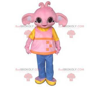 Nettes rosa Elefantenmaskottchen und rosa Tunika -