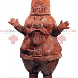 Maskot zahradní trpaslík v hnědém sametu a jeho helma -