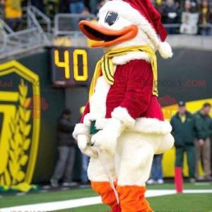 Donald Duck Maskottchen als Weihnachtsmann verkleidet -