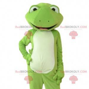 Mascotte della rana verde molto elegante e molto sorridente -