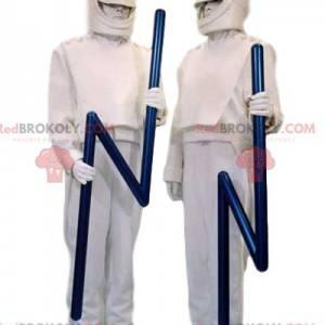 Witte eend mascotte duo en hun blauwe bliksem spectrum -