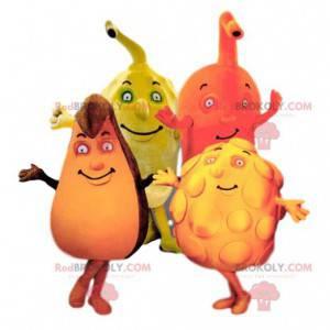 Quartett aus bunten und komischen Fruchtmaskottchen -
