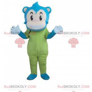 Mascota de mono de muñeco de nieve azul, beige y verde -
