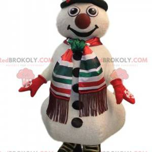 Mascotte pupazzo di neve gioviale con il suo cappello verde -