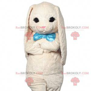 Soft white rabbit mascot with its turquoise bow - Redbrokoly.com