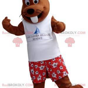 Mascota de la marmota marrón en traje de vacaciones -